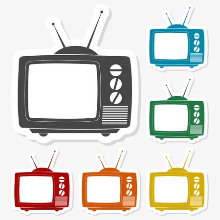 tv icon: Multicolored paper stickers - TV Icon Illustration