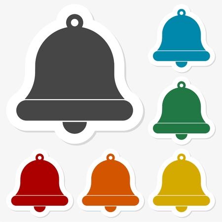 Multicolored paper stickers - Bell Icon