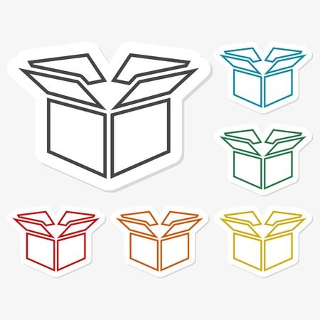 Multicolored paper stickers - Open box icon