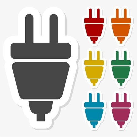 Multicolored paper stickers - Electric plug icon