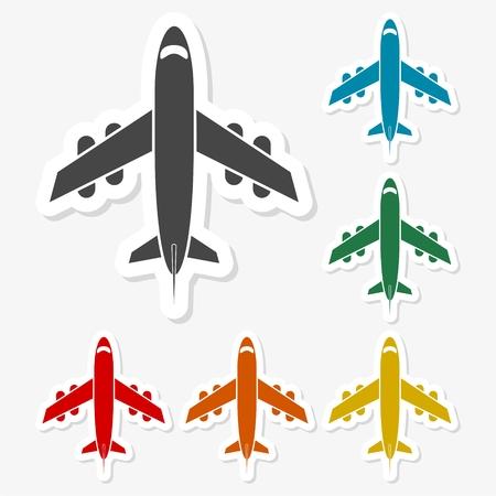 Multicolored paper stickers - Plane Icon
