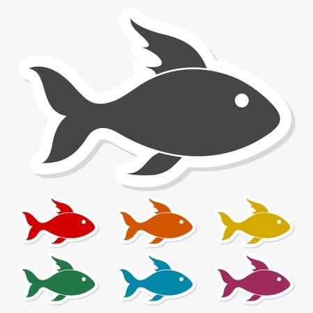 Multicolored paper stickers - Fish icon