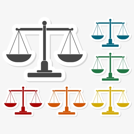 fair trial: Multicolored paper stickers - Justice scales silhouette