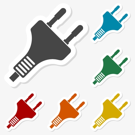 Multicolored paper stickers - Electric plug icon