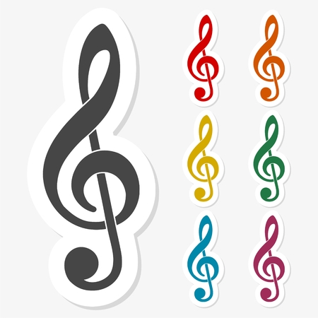 Multicolored paper stickers - Treble Clef icon