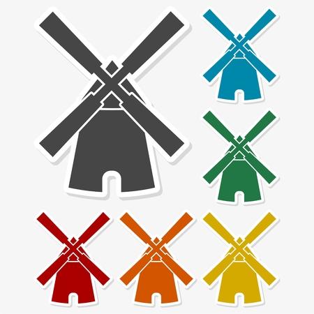 Multicolored paper stickers - Windmill icon