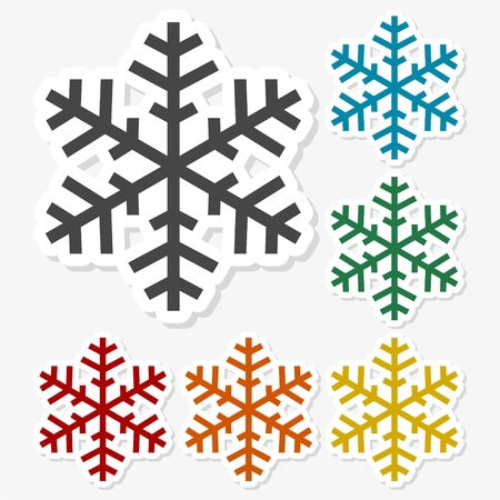 Multicolored paper stickers - Snowflakes