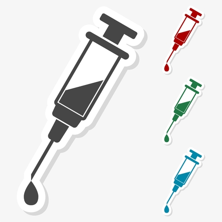 Multicolored paper stickers - Syringe and needle Illustration