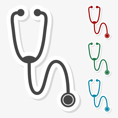gray netting: Multicolored paper stickers - Stethoscope