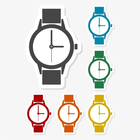 seconds: Multicolored paper stickers - Watch icon