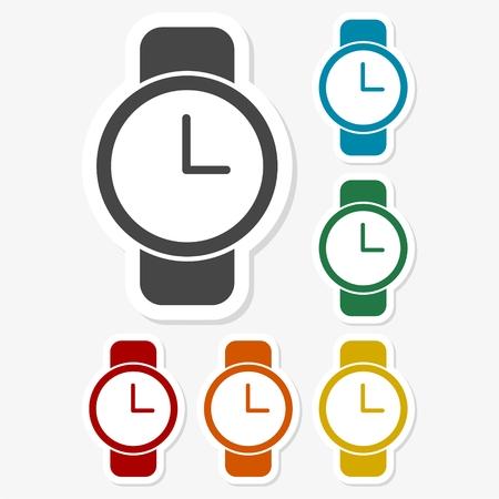 Multicolored paper stickers - Watch icon