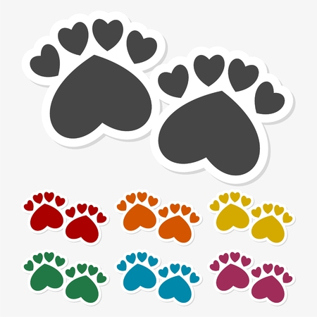 Multicolored paper stickers - Paw Print