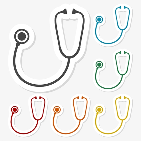 Multicolored paper stickers - Stethoscope