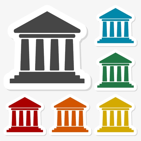 univercity: Multicolored paper stickers - Bank icon