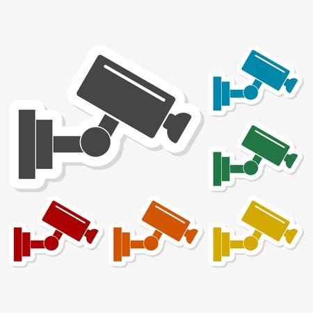 caution cctv: Multicolored paper stickers - Security camera icon