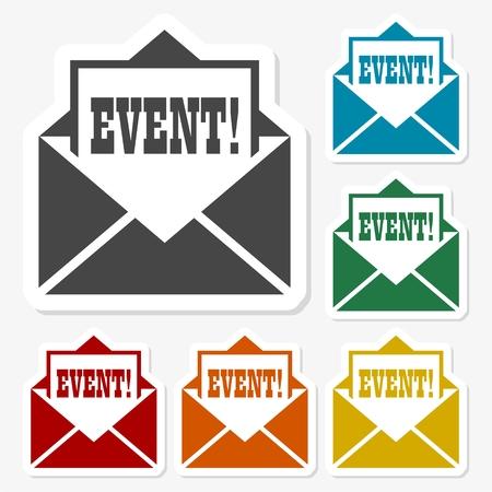 Multicolored paper stickers - Event icon