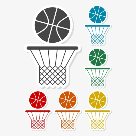 Multicolored paper stickers - Basketball icon Ilustracja