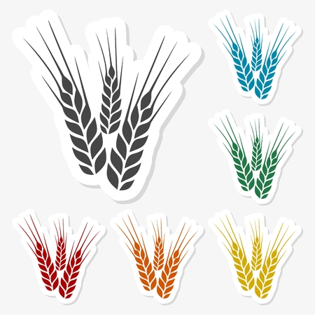 Multicolored paper stickers - Wheat (Ears of wheat) Illustration