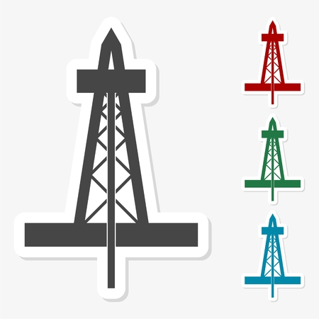 Multicolored paper stickers - Oil rig icon