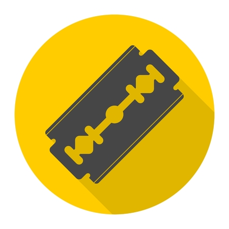blade: Razor blade icon with long shadow Illustration