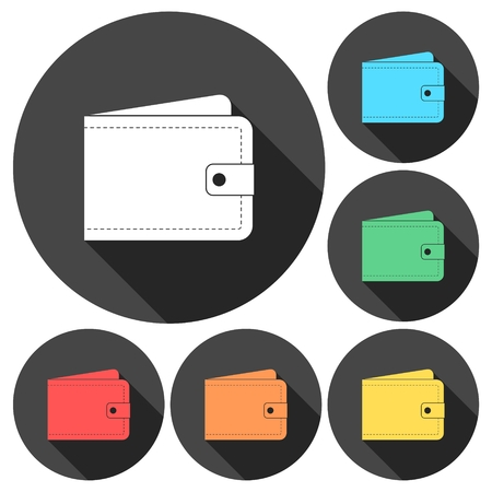 billfold: Wallet - vector icons set with long shadow