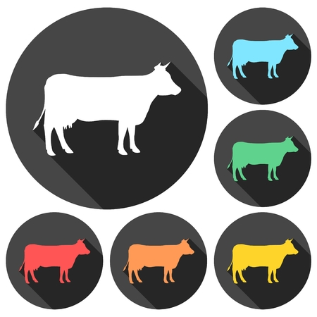 guernsey: Cow silhouette icons set with long shadow