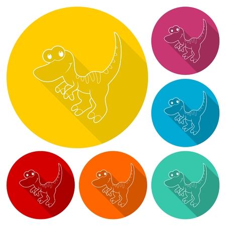 triassic: Cute Cartoon Dinosaur icons set with long shadow