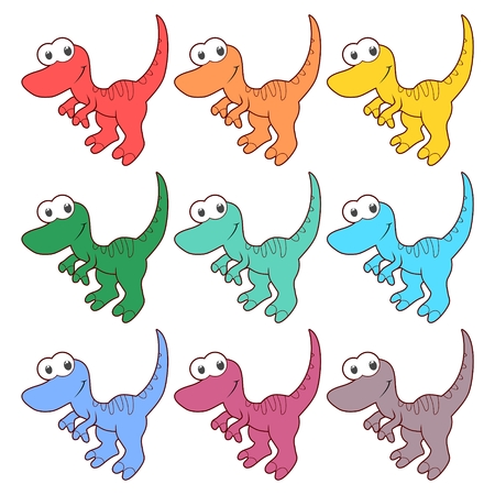 triassic: Cute Cartoon Dinosaur icons set