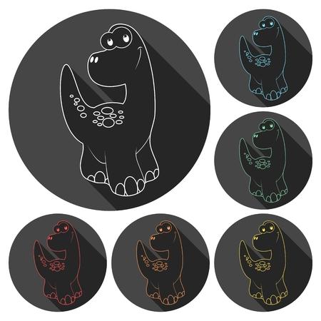 mesozoic: Cute Cartoon Dinosaur icons set with long shadow