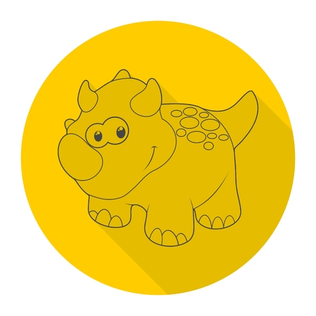 Cute Cartoon Dinosaur icon with long shadow