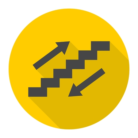 Staircase symbol with long shadow Illustration