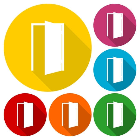 Door icons set with long shadow Illustration