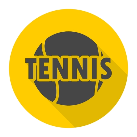 Tennis design icon with long shadow