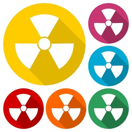 Radiation symbol set with long shadow