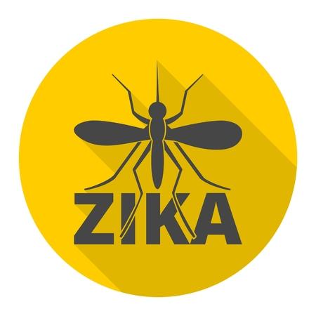 riesgo biologico: icono de virus Zika con una larga sombra Vectores