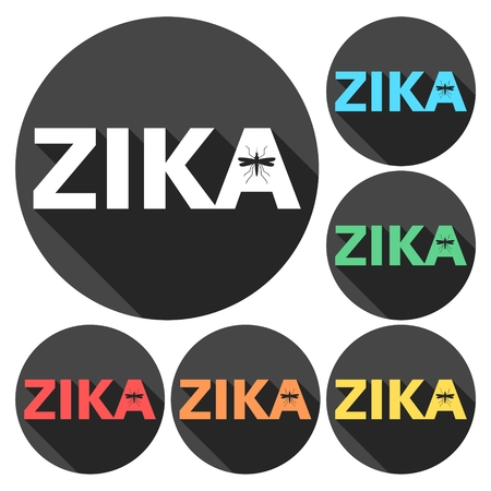 bio safety: Zika virus icons set with long shadow