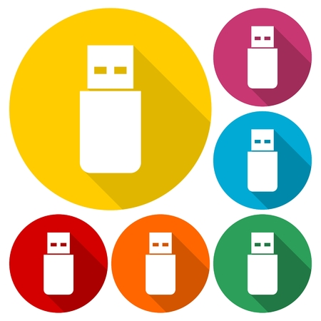 microdrive: Usb icons set with long shadow Illustration