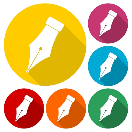 Ink pen Icons set with long shadow