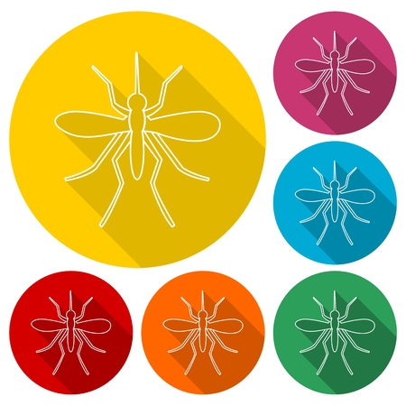 water repellent: Mosquito icons set with long shadow Illustration