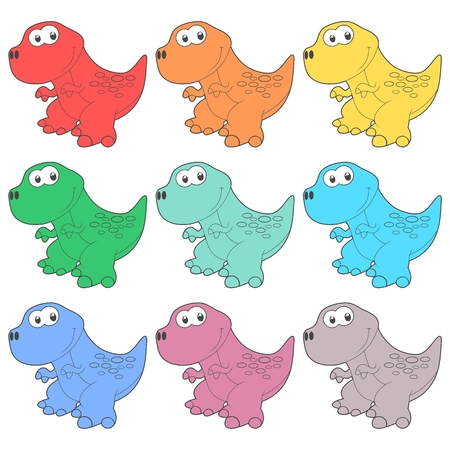 dinosaurus: Cute Cartoon Dinosaur icons set