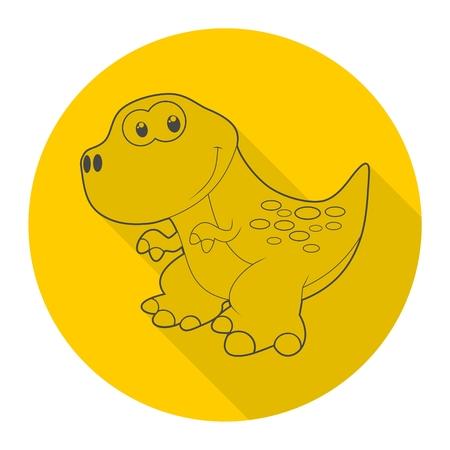triassic: Cute Cartoon Dinosaur icon with long shadow