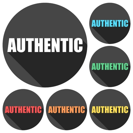 authentic: Authentic icons set with long shadow Illustration