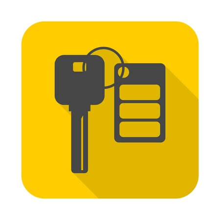 Auto key with remote control icon with long shadow