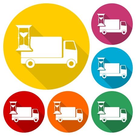 Camion avec horloge, icônes de livraison rapide réglée avec une longue ombre Banque d'images - 63583048