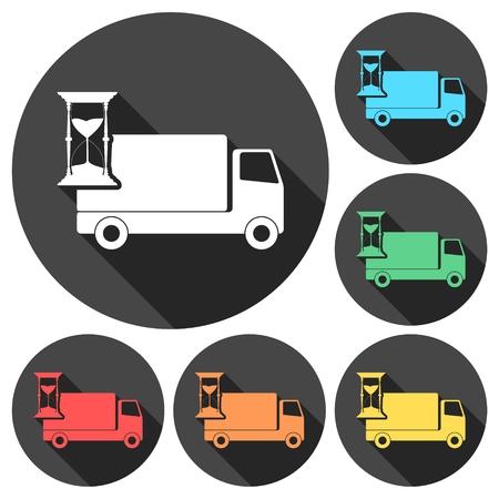 Camion avec horloge, icônes de livraison rapide réglée avec une longue ombre Banque d'images - 63583058