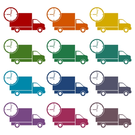 Truck with clock, fast delivery icons set