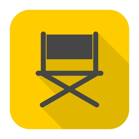 Director chair - vector icon with long shadow Illustration