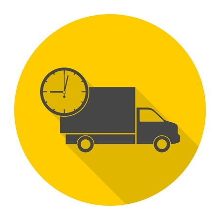 Truck with clock, fast delivery icon with long shadow