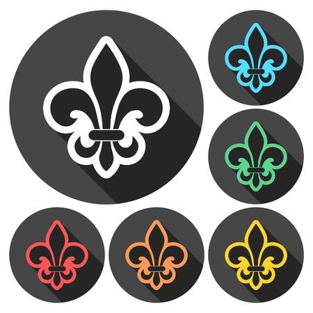 li: Fleur de lis icons set with long shadow