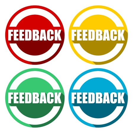 pensil: Feedback icons set with long shadow Illustration